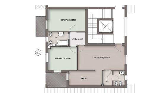 Appartamento 90 mq pianta for Casa moderna 80 mq